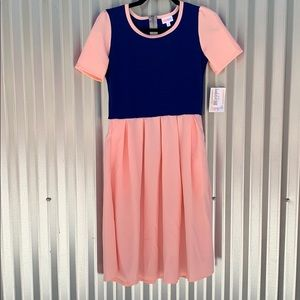 NWT Lularoe Pink and Blue Amelia Day Dress Small